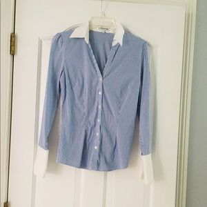 Express Blue and White Button Down w/ French Cuffs